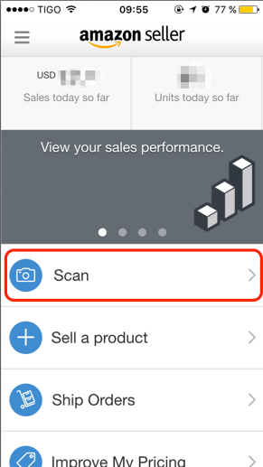 Amazon seller app, Scan