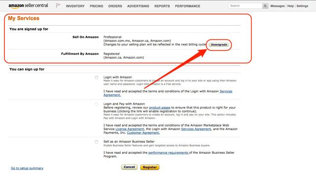 Downgrade-seller-account-amazon